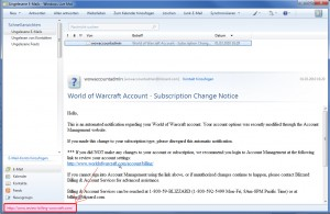 """E-Mail von """"Blizzard"""""""